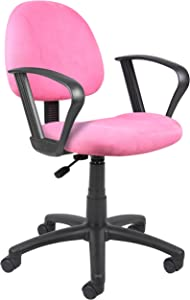 Boss Office Products B327-PK Perfect Posture Delux Microfiber Task Chair with Loop Arms in Pink