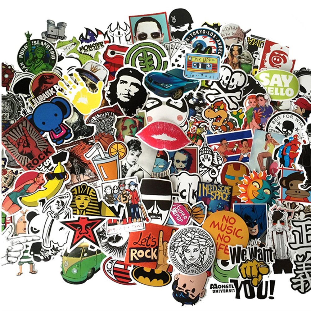 Fngeen Random Sticker 50-500pcs Variety Vinyl Car Sticker Motorcycle Bicycle Luggage Decal Graffiti Patches Skateboard Stickers for Laptop Stickers (200pcs)
