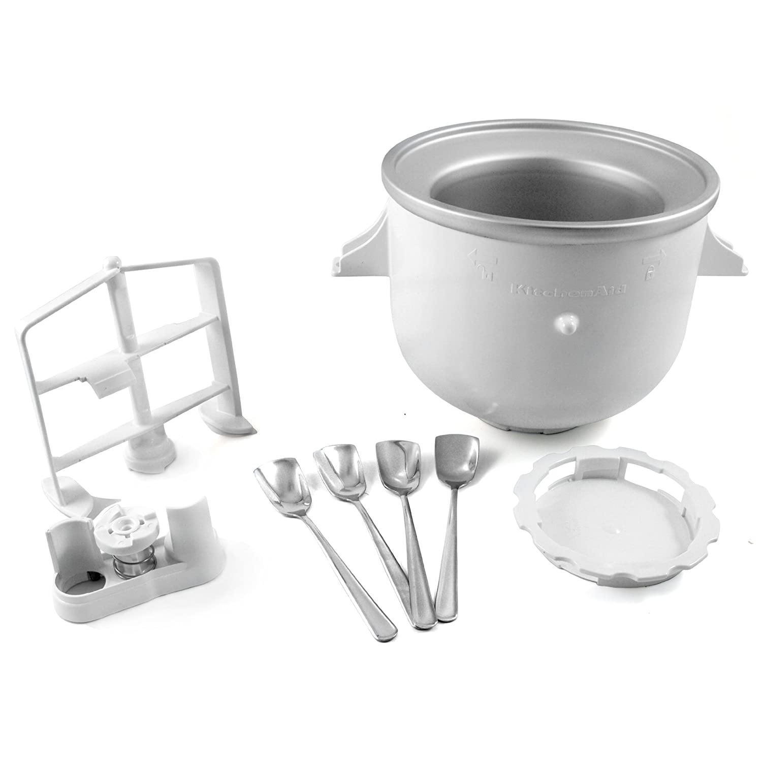 KitchenAid KICA0WH Ice Cream Maker Attachment for Stand Mixer with Set of 4 Free Ice Cream Spoons