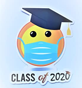 Class of 2020 Vinyl Sticker, Quarantined Senior Class Graduation Party Gift Memory Funny Emoji Mask Social Distancing Toilet Paper Decal Laptop Computer Phone Window Wall Decoration Car Bumper