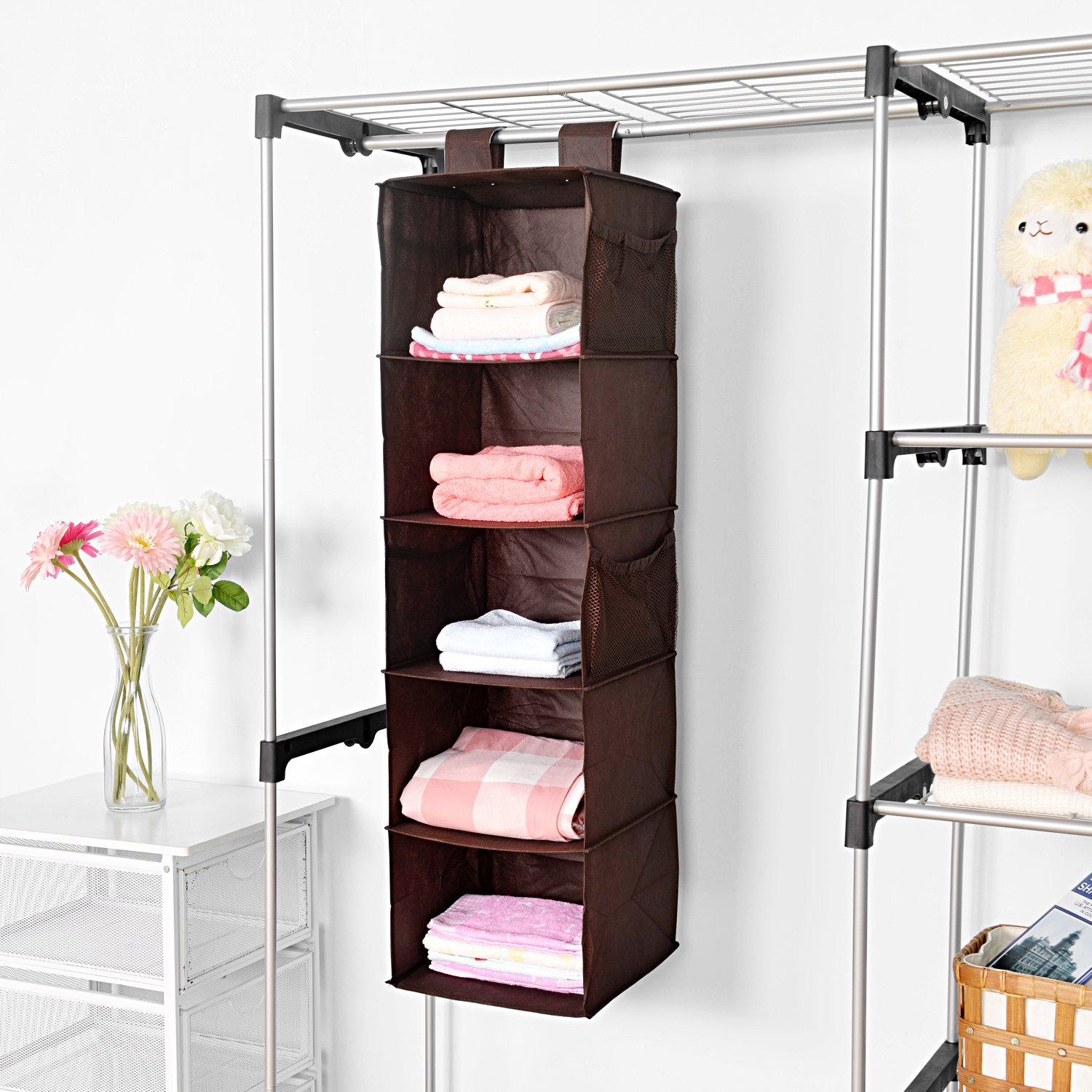 rolling metal portable hom hanger display dryer stand clothes mcr voilamart wardrobe rack rail garment home