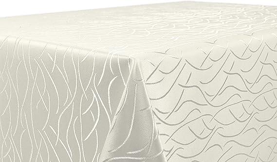 Tischdecke grau  110x140 ceckig in glanzvoller Streifenoptik von First-Tex