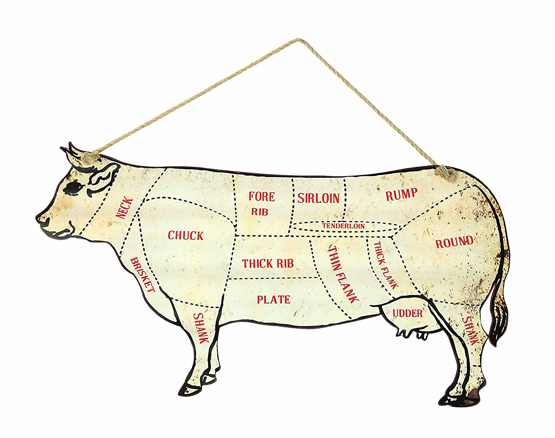 Creative beeinflußt Kuh Butcher \'s Diagramm Metall Wand Decor, Weiß ...