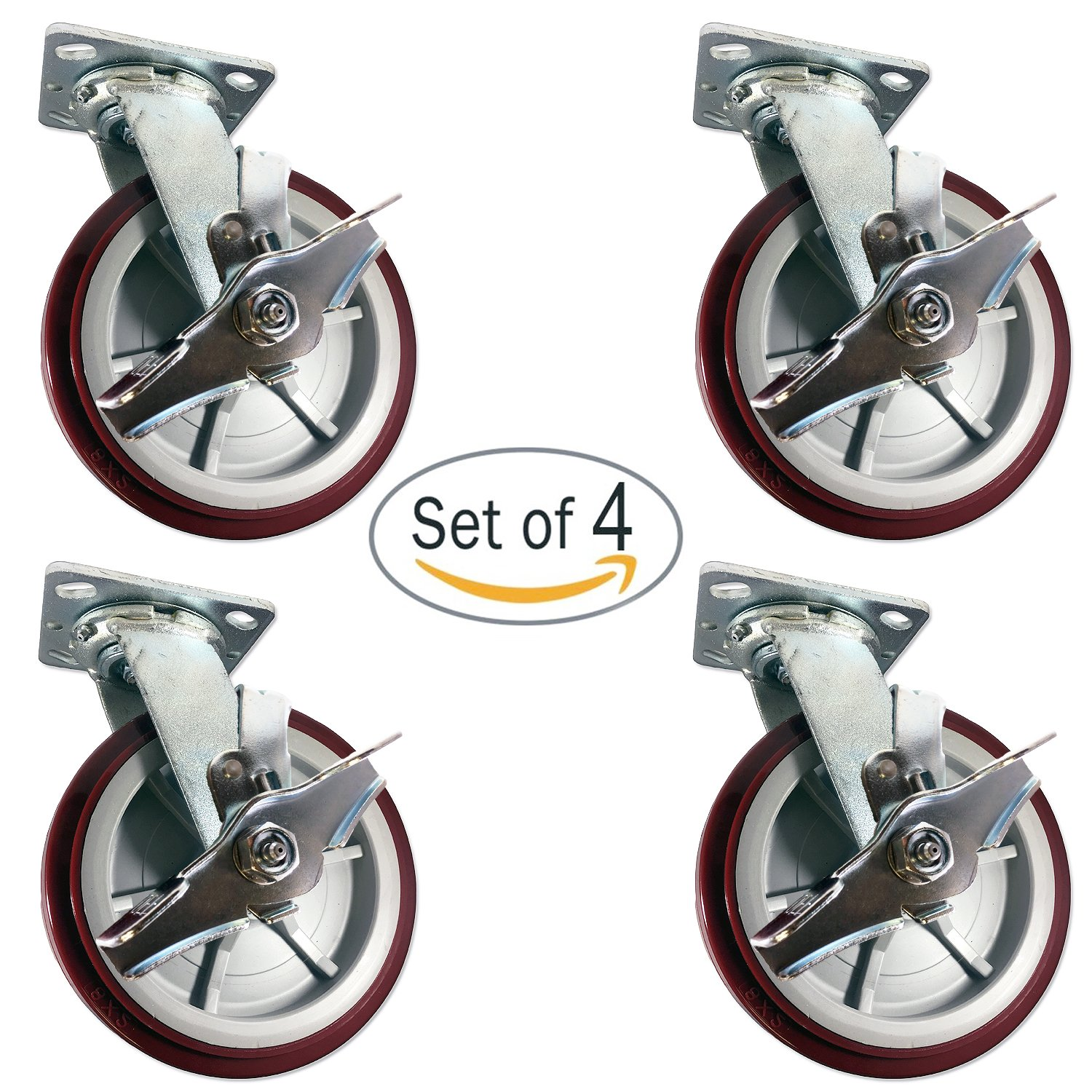 CasterHQ - 8'' X 2'' Swivel Caster Heavy Duty Polyurethane Wheel W/ Brakes 950lbs Each - Set of (4) Tool Box