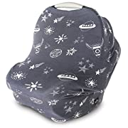 Nursing Cover, Car Seat Canopy, Shopping Cart, High Chair, Stroller and Carseat Covers for Boys or Girls- Best Stretchy Infinity Scarf and Shawl- Multi Use Breastfeeding Cover- Rockets