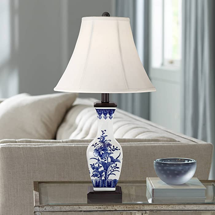 Benoit Asian Accent Table Lamp Ceramic Blue Floral Vase White Bell Shade for Living Room Family Bedroom Bedside Nightstand - Barnes and Ivy