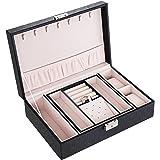 SONGMICS ジュエリーボックス アクセサリーケース 高級 大容量 上品ギフト 鍵付き 宝石箱 ブラック NJBC137B