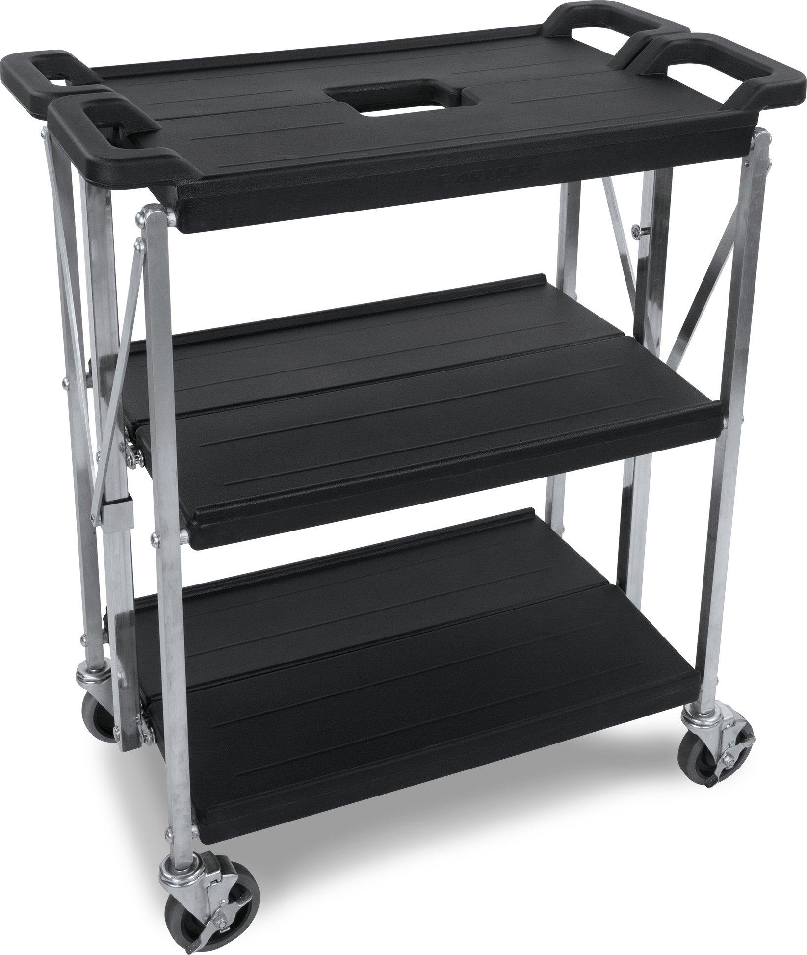 Carlisle SBC152103 Fold 'N Go Collapsible Utility Cart, 350 Pound Capacity, 21'' Length x 15'' Width Shelf, Black