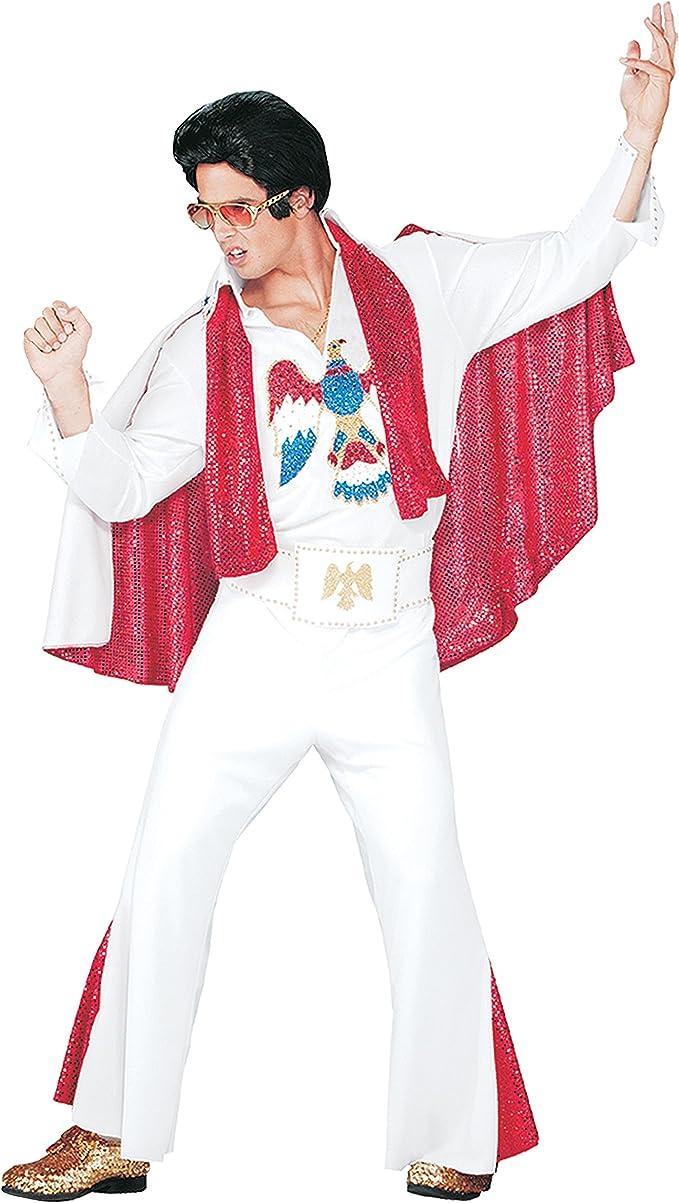Adult Elvis Costume Licensed Jumpsuit White Jewelled Fancy Dress Costume M L