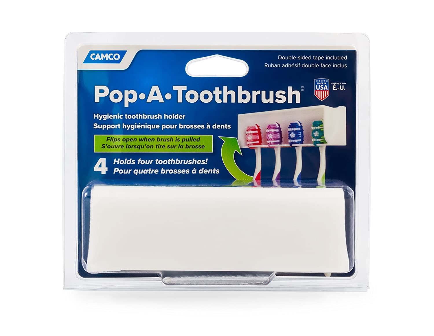 Camco A Pop-A-Toothbrush Wall Mounted Holder with Germ Protecting Cover, Holds 4, White 57204