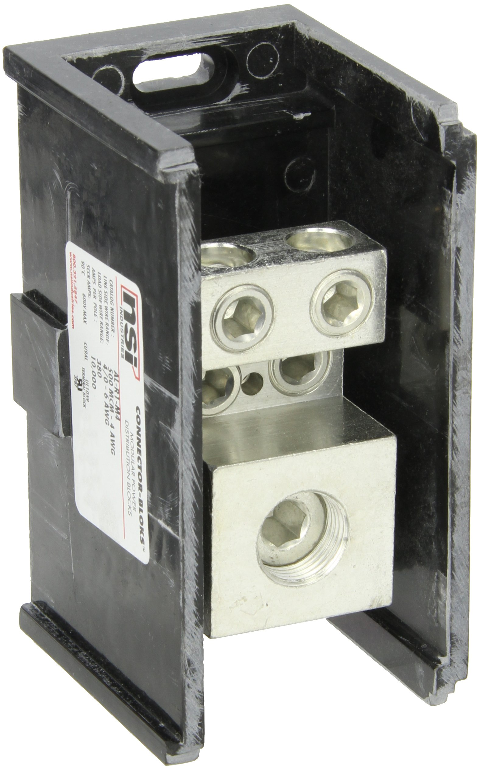 Power Distribution and Terminal Block, Connector Blok - Single Primary - Multiple Secondary, 500MCM-4 AWG Line and 4/0-6 AWG Load Side Configuration, 2.90'' Width, 3.25'' Height, 5.50'' Length