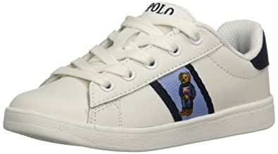 f6a840a944f Polo Ralph Lauren Kids Boys' QUILTON Bear Sneaker, White Leather Blue/Navy  Striping