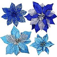 23 قطعة من Winlyn مجموعة من زهور البونسيتا زرقاء لامعة متنوعة من زهور الكريسماس لتزيين شجرة الكريسماس للشتاء الزرقاء…