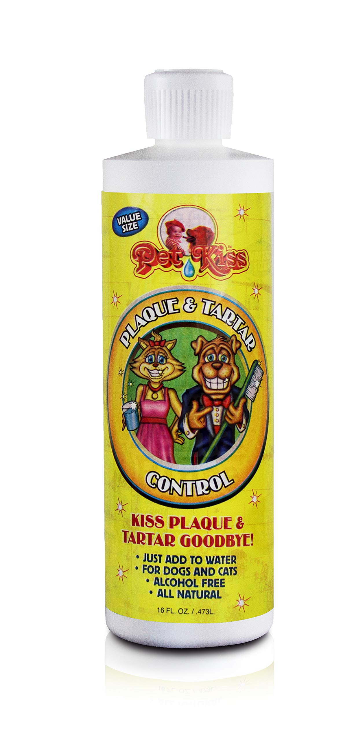 Pet Kiss Plaque and Tartar Water Additive Oral Care for Pets, 16-Ounce