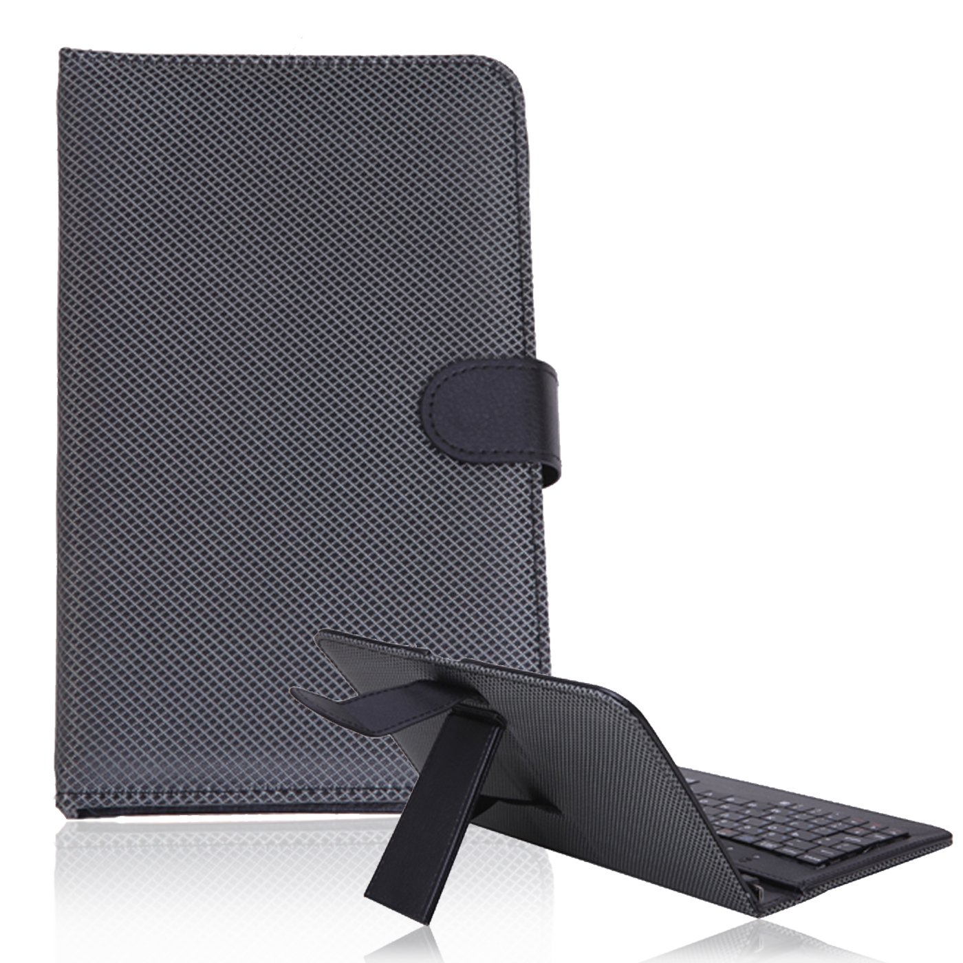 HDE Diamond Stitch Hard Leather Folding Folio Case Cover with Micro USB Keyboard for 7'' Tablet (Black)