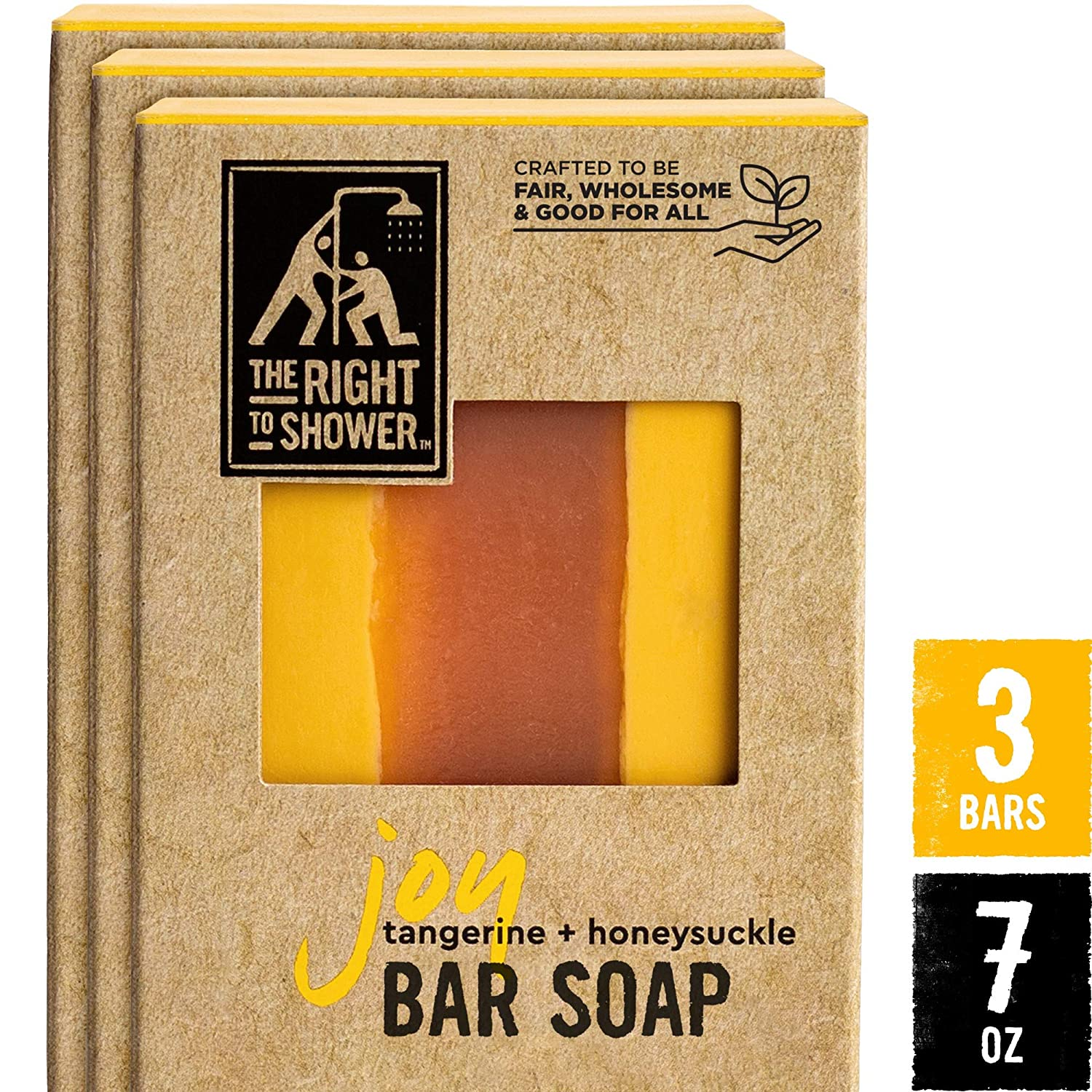 The Right To Shower Bar Soap, Joy, 7 oz, Pack of 3 : Beauty