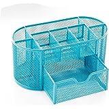 Mesh Office Desk Tidy Organiser Desktop Multi-functional Storage Box with Drawer,Blue