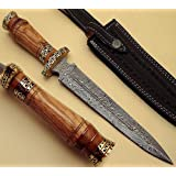 BTB-501,13 Inches, Handmade Damascus Steel Dagger Made up of Olive Wood Handle with Brass Rings