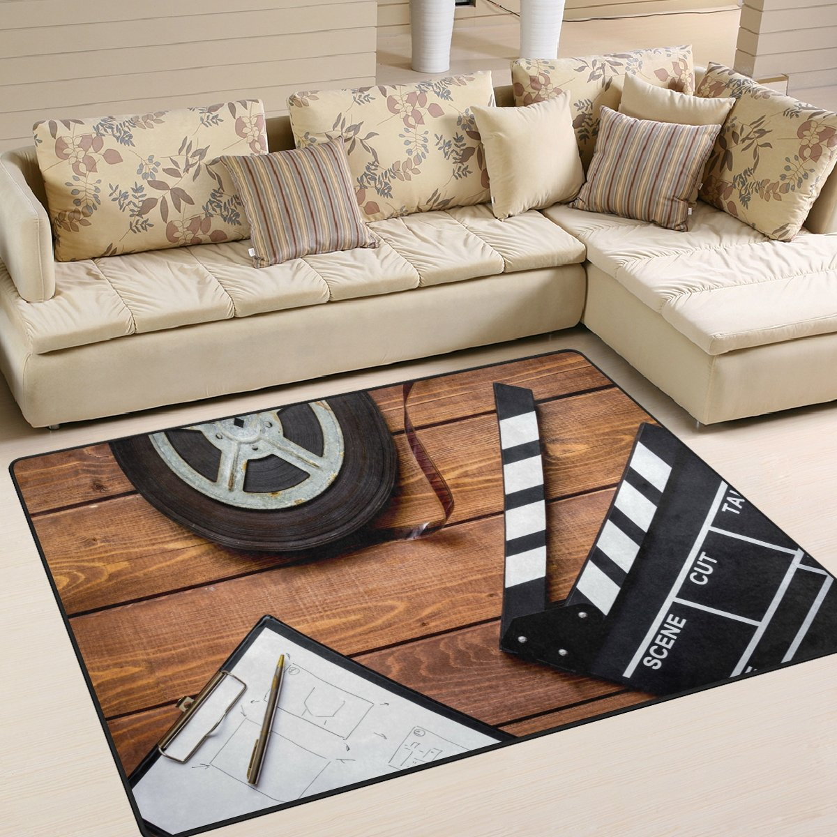 ALAZA Vintage Movie Clapboard Tape Area Rug Rugs for Living Room Bedroom 7' x 5'