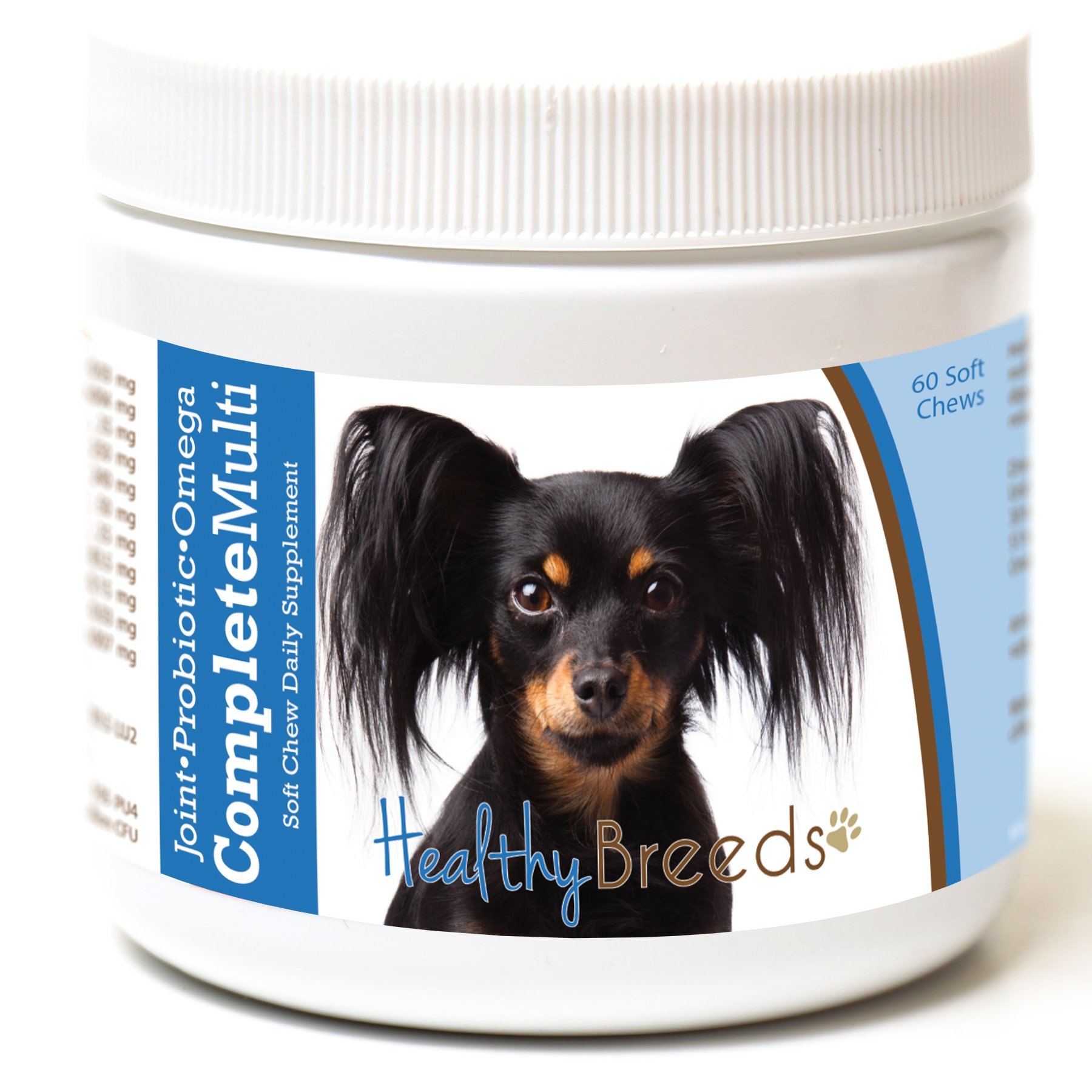 Healthy Breeds Dog Complete Daily Multivitamin Soft Chews for Russian Toy Terrier - Over 200 Breeds - Joint Probiotic Omega 3 6 9 Vitamins - 60 Chews