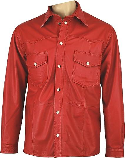 Muy Alta Calidad Piel Camisa de hombre piel Camisa Mujer de Aniline 100% Piel Color ROJO: Amazon.es: Coche y moto