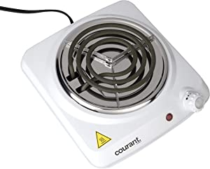 Courant Electric Burner, Countertop Single coiled portable Hotplate 1000W, White