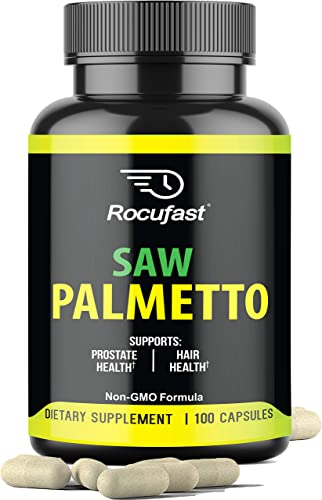 Rocufast Saw Palmetto Prostate Supplement for Prostate Health and Frequent Urination Support 500mg Natural DHT Blocker May Support Hair Loss Prevention Great Supplement for Men and Women 90 Count