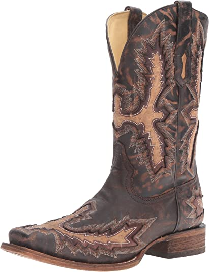 CORRAL Mens Brown Chocolate Studded Overlay Square Toe Cowboy Boots G1270