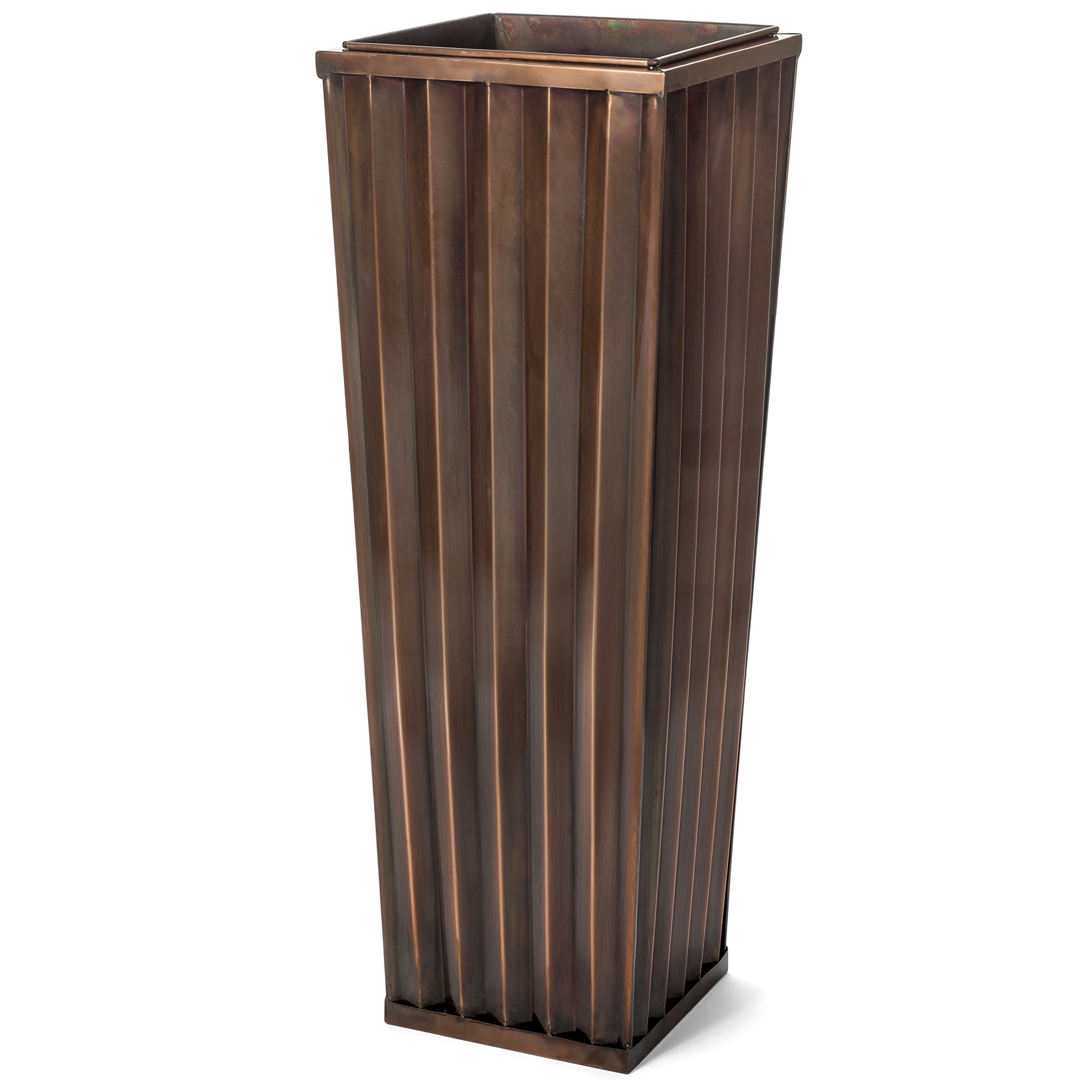 H Potter Tall Outdoor Indoor Planter Patio Deck Flower Ribbed Garden Planters Antique Copper Finish (LARGE) by H Potter
