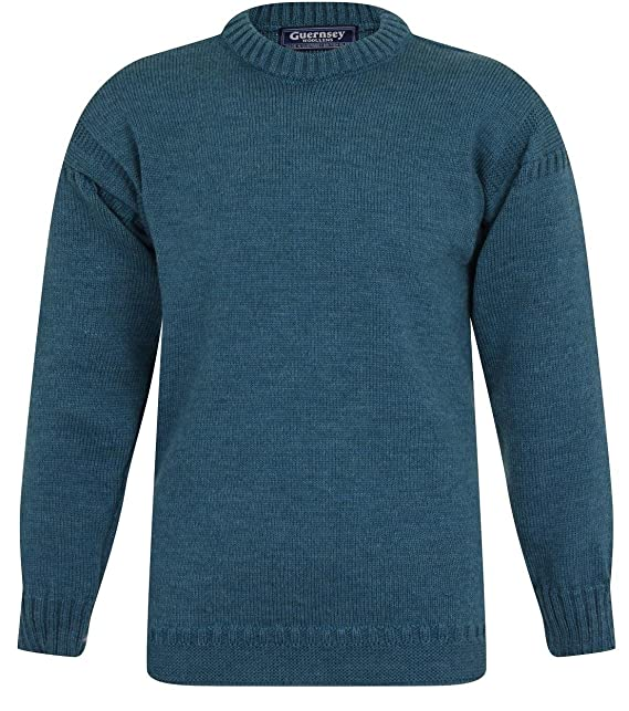 Uomo Cm 112 Teal Amazon Woollens Maglione it Guernsey 6wqEzaa