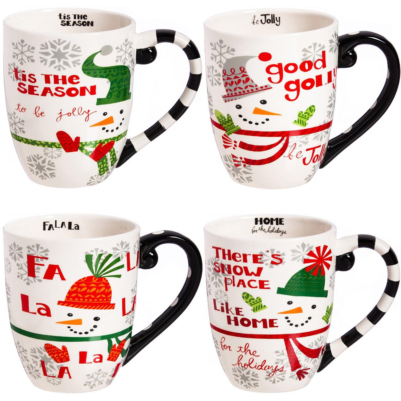 CEDAR HOME Travel Coffee Ceramic Mug Funny Christmas Porcelain Tea Cup 18oz., Set of 4 CQ3MCT5627