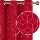 Deconovo Blackout Curtains Living Room 2 Panels Gold Diamond Foil Print Blackout Curtains Thermal Insulated Room Darkening Su