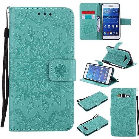 pinlu® Flip Funda de Cuero para Samsung Galaxy Grand Prime (G530) Carcasa con Función de Stent y Ranuras con Patrón de Girasol Cover (Verde)
