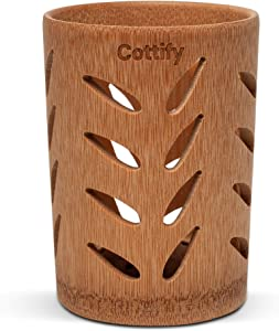 Premium Bamboo Toothbrush Holder for Bathroom – Toothbrush Organizer with Holes | Quick Drying | Toothbrush Organizers and Storage | Toothpaste Holder | 360˚ air circulation | Bamboo Leaves décor