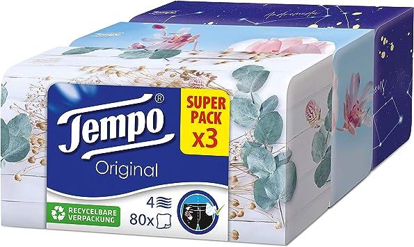 Tempo Taschentücher Duo-Box 4-lagige 2 x 80 Tücher in praktischer Tücherbox