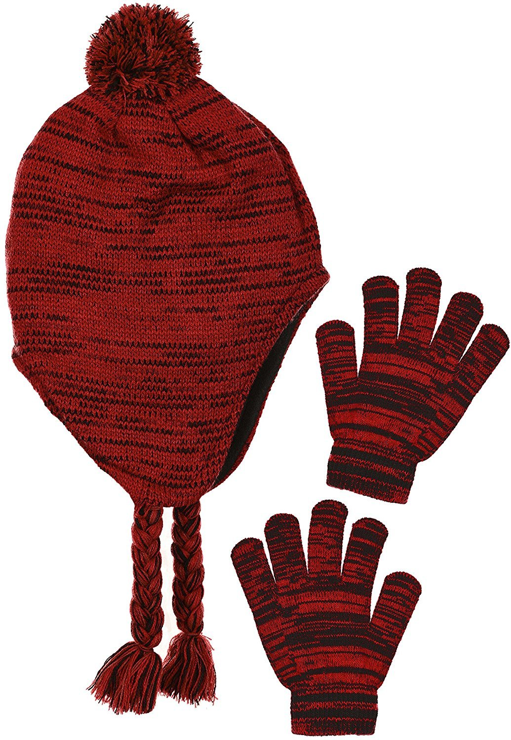 Polar Wear Boy's Traditional Knit Hat with Ear Flaps & Gloves Set in 3 Colors B7C1720