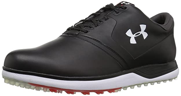 Under Armour Men's Performance SL Leather Golf Shoe, Black (001)/Sultry, 7.5