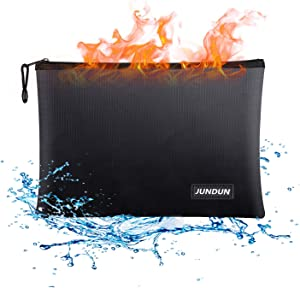 "JUNDUN Fireproof Document Bags,13.4""x 9.4""Waterproof and Fireproof Money Bag,Fireproof Safe Storage Pouch with Zipper for A4 Document Holder,File,Cash and Tablet"