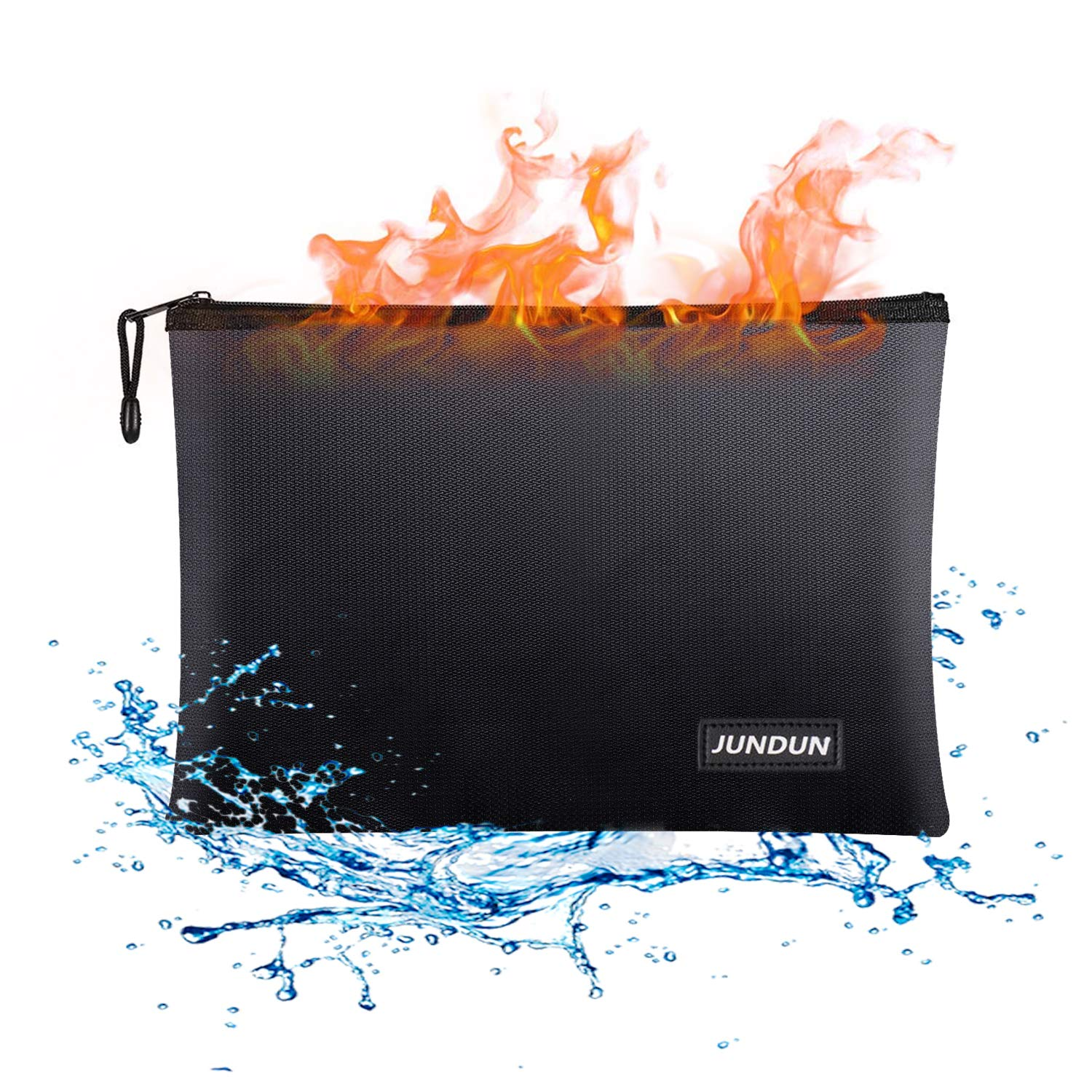 JUNDUN Fireproof Document Bags,13.4''x 9.4''Waterproof and Fireproof Money Bag,Fire Resistant Safe Storage Pouch with Zipper for A4 Document Holder,File,Cash and Tablet by JUNDUN