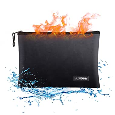 "JUNDUN Fireproof Document Bags,13.4""x 9.4""Waterproof and Fireproof Money Bag,Fire Resistant Safe Storage Pouch with Zipper for A4 Document Holder,File,Cash and Tablet"
