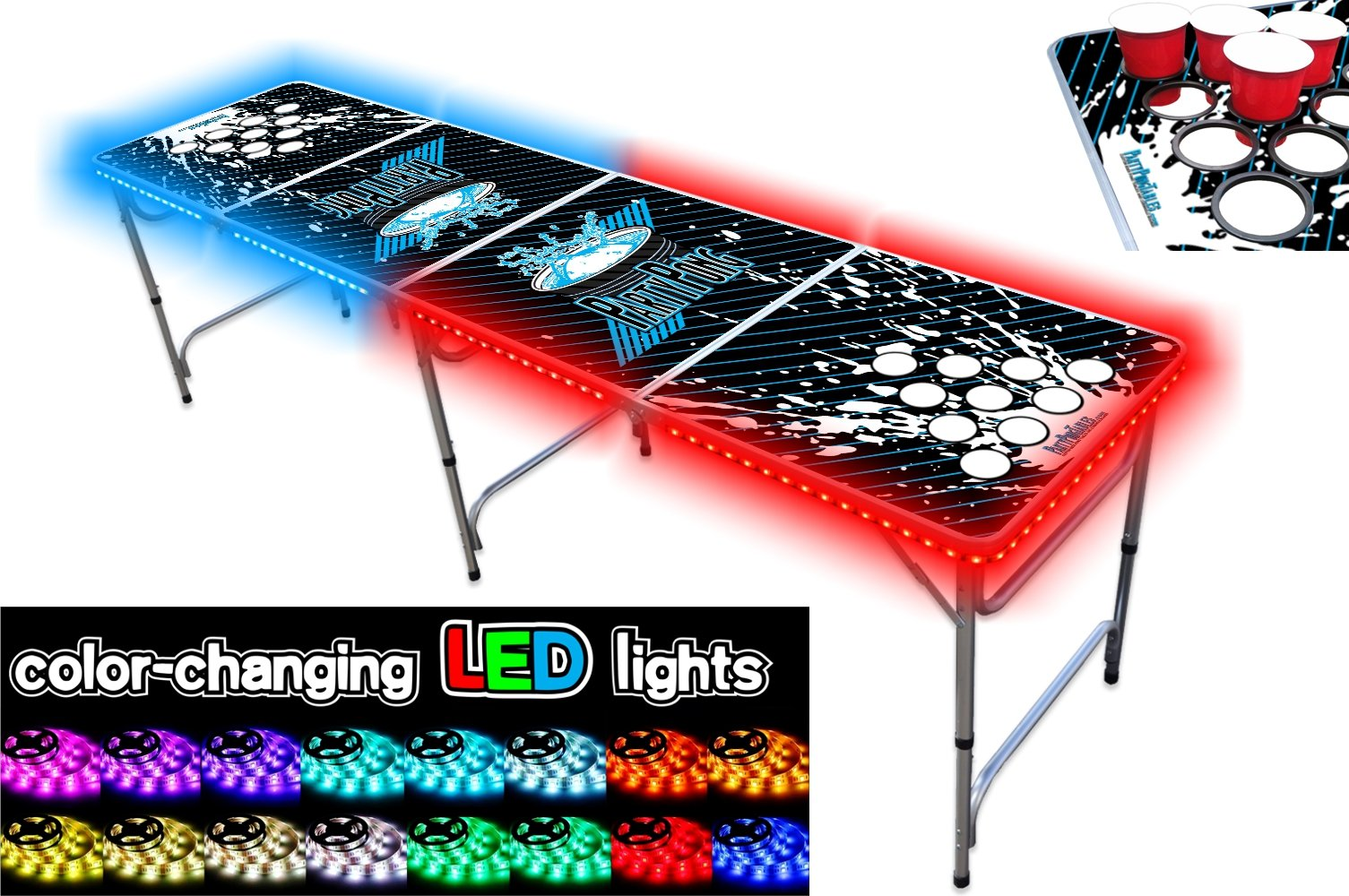PartyPongTables.com 8-Foot Beer Pong Table w/Cup Holes & LED Glow Lights - Splash Edition by PartyPongTables