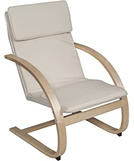 Exceptional Niche Mia Reclining Bentwood Chair,Natural/Beige