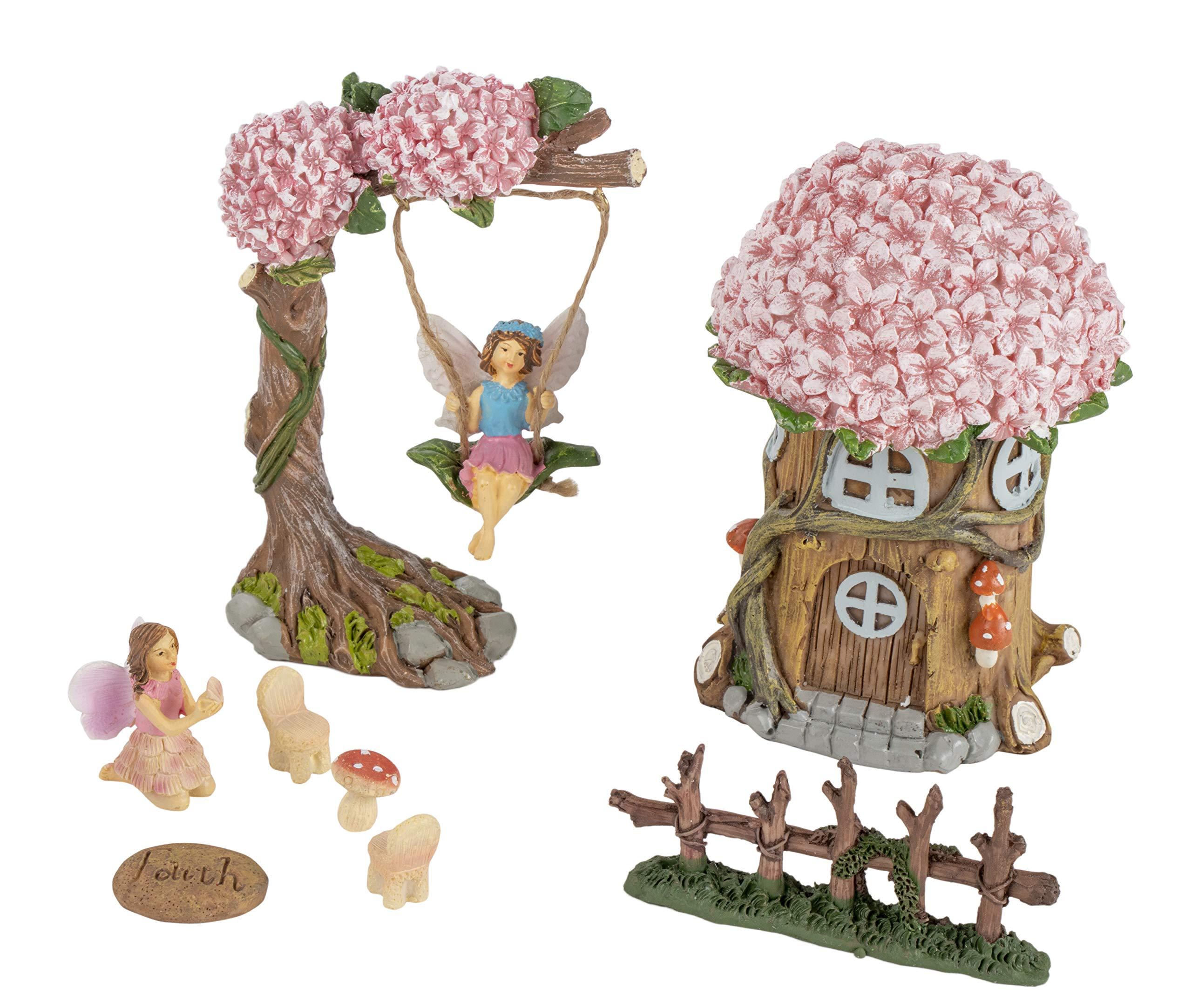 Juvale Fairy Garden Kit - 8-Piece Miniature Tree House and Fairy Figurines, Mini Fairy Garden Accessories, Indoor Outdoor Decorations, Yard, Lawn, Housewarming, Wedding Gift
