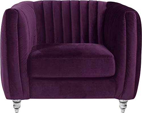 Iconic Home Kent Elegant Velvet Modern Contemporary Plush Cushion Seat Round Acrylic Feet Club Chair