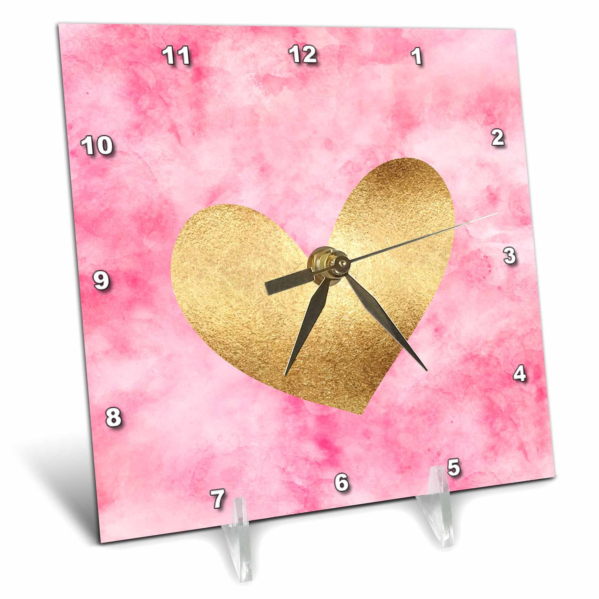 3dRose PS Inspiration - Image of Gold Pink Watercolor Heart - 6x6 Desk Clock (dc_280722_1)