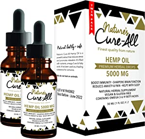 Powerful Hemp Oil Tincture- 5000mg, Organic Hemp Oil for Anxiety, Pain & Stress Relief, Provides Quality Sleep, Natural Dietary Supplement, Rich in Omega 3-6-9, Grown & Made in USA (Pack of 2)