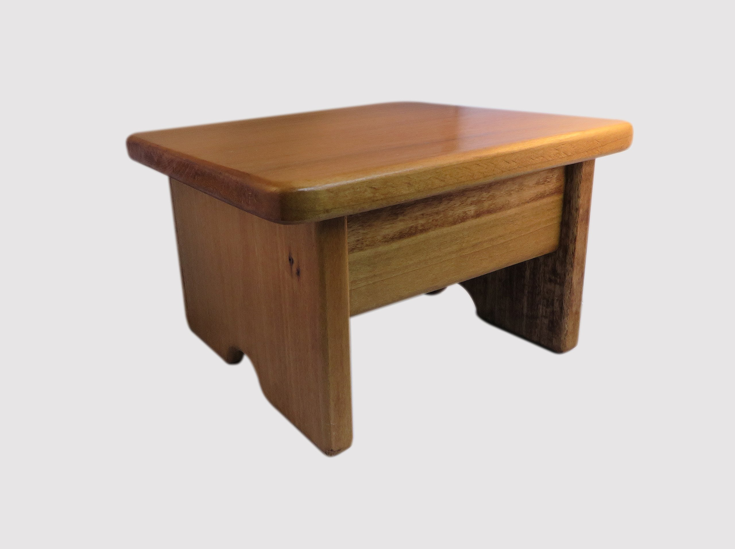 Foot Stool Poplar Wood Maple Stain 7'' Tall Mini (Made in the USA) by KR Ideas