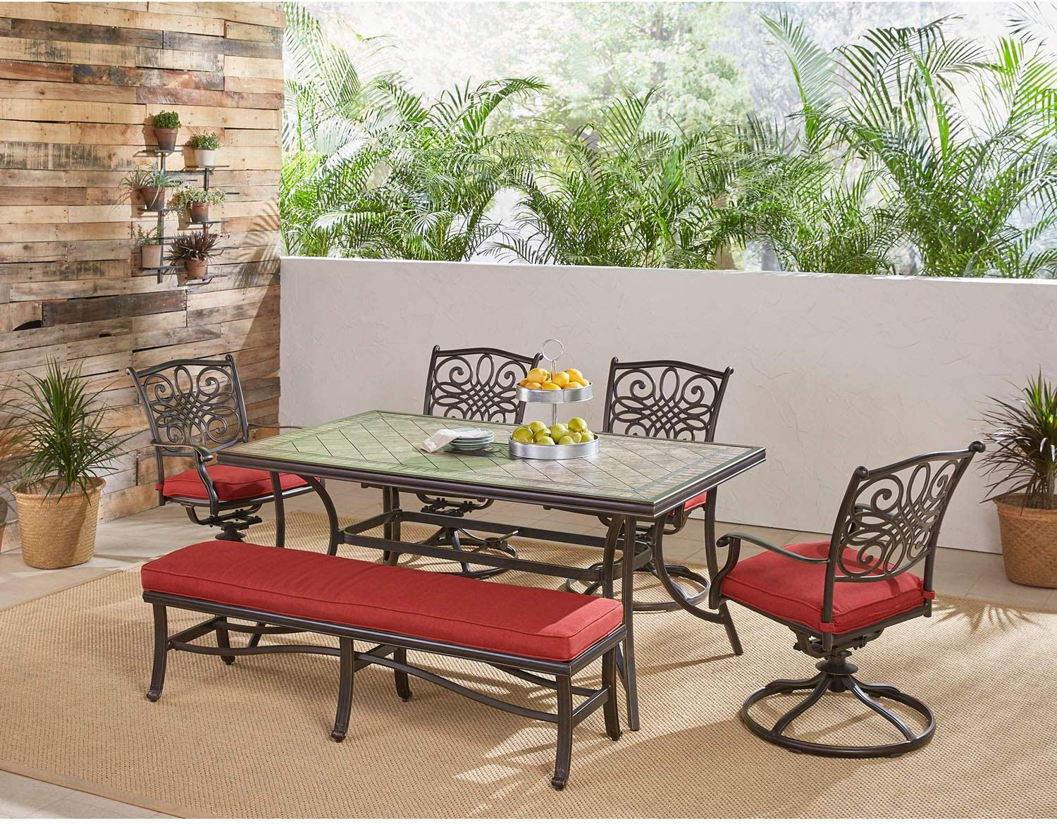 Hanover MONDN6PCSW4BN-RED Monaco 6-Piece Patio Dining Set in Red Outdoor Furniture