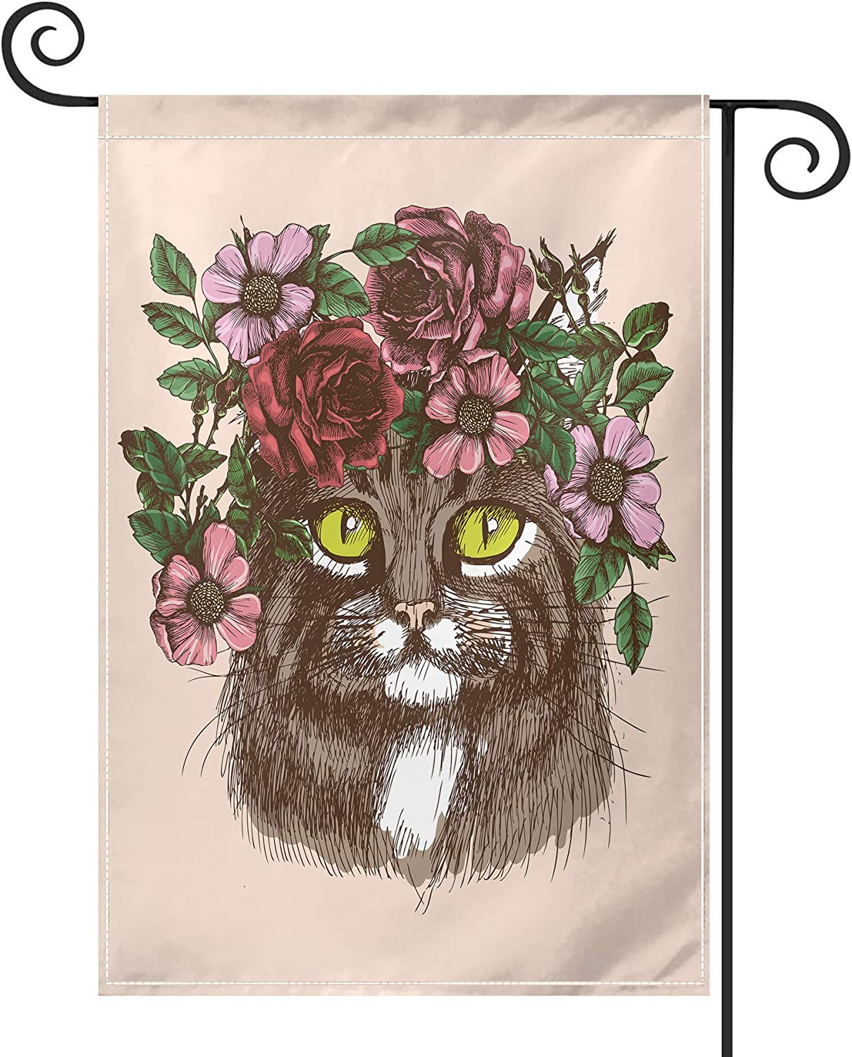 PRUNUS Hippie Tattoo Maine Coon Cat Garden Flag, Vertical Double Sided Premium Material Holiday Weather Resistant Decorative Lawn Flags Outdoor Decor 12.5 x 18 Inch Black