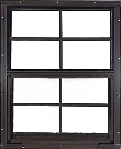"New Shed Windows 18"" W x 23"" H - Flush Mount - Playhouse Windows (Brown)"